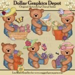 Overall Teddies - Pretty Flowers - Clip Art