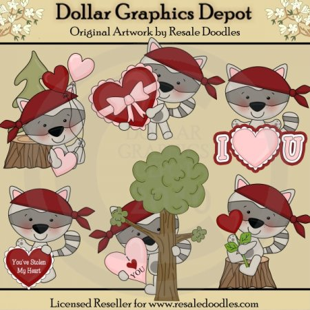 You've Stolen My Heart Raccoons - Clip Art