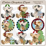 Stuffed Puppies - Merry Christmas - Clip Art