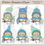 Winter Owls - Clip Art - *DGD Exclusive*