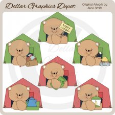 Happy Camper Bears - Clip Art - *DGD Exclusive*