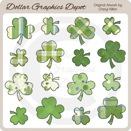 St. Patrick's Day Shamrocks - Clip Art