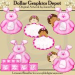 Roly Poly Bunny - Baby Girl - Clip Art