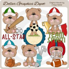 BoBo Bear Plays Sports - Clip Art