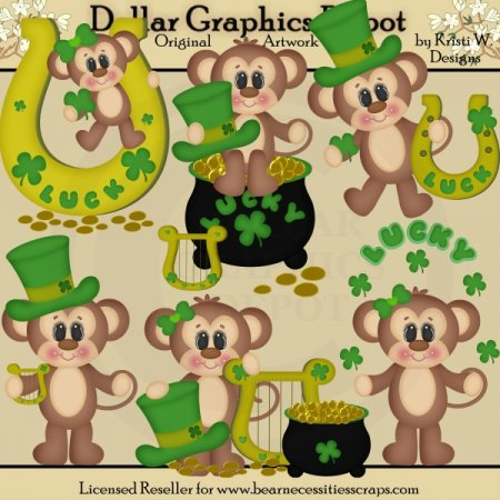 St. Patrick's Day Monkeys - Clip Art - *DGD Exclusive*