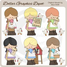 Farm Girls - Chicks - Clip Art - *DGD Exclusive*