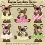 Spring Flower Bears - Clip Art - *DGD Exclusive*
