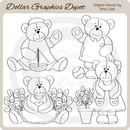 Summer Cutie Bears - Digital Stamps