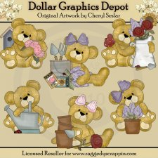 Cuddly Bears - Country Garden - Clip Art