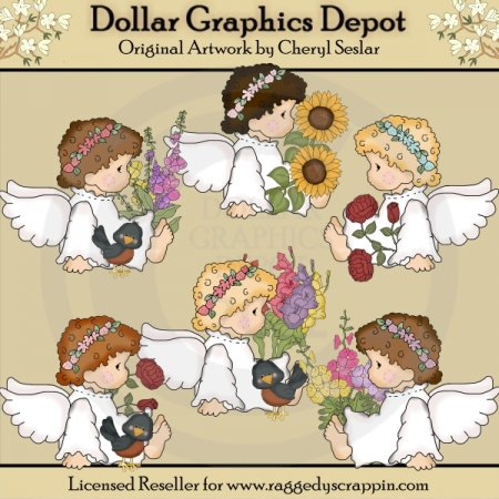 Angel Audrey's Flowers - Clip Art