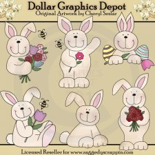 Cute Little Bunnies - Clip Art