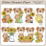 Scruffy Teddy Loves Sunflowers - Clip Art