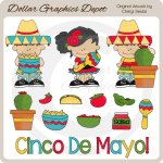 Little Cinco De Mayo Kids - Clip Art