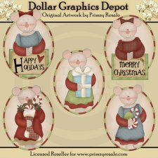 Christmas Mice - Ovals - Clip Art