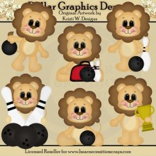 Bowling Lions - Clip Art - *DGD Exclusive*