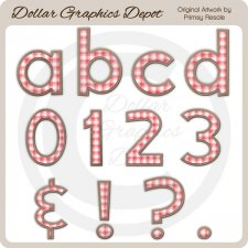 Pink Plaid Alphas - Clip Art