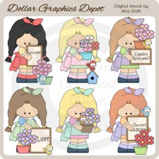 Spring Garden Girls - Clip Art - *DGD Exclusive*