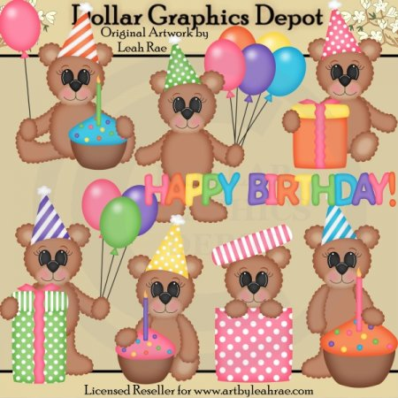 Birthday Bears 1 - Clip Art