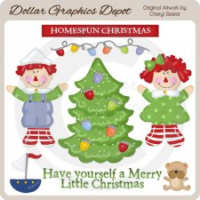 Homespun Christmas - Clip Art