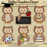 Little Owls - School Days - Clip Art
