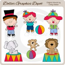 Cute Circus Kids - Clip Art