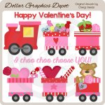 Valentine Train - Clip Art