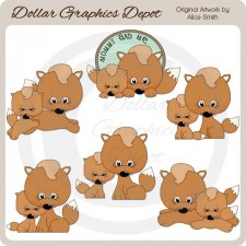 Mommy and Me Foxes - Clip Art - *DGD Exclusive*