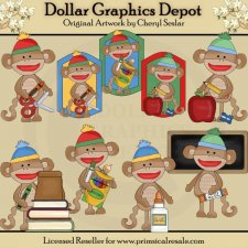 Silly Sock Monkeys - Go To School - Clip Art