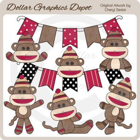 Cute Sock Monkeys - Clip Art