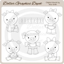 Baby Girl Piggies - Digital Stamps