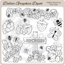 Bugs and Berries - Digital Stamps