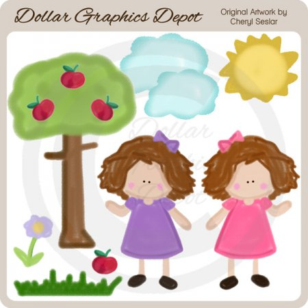 Crayon Kids - Apple Tree Girls - Clip Art