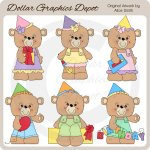 Birthday Party Bears - Clip Art - *DGD Exclusive*