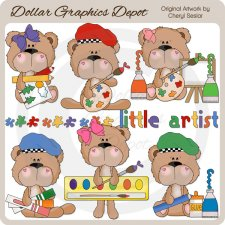 BoBo and Babs Bears Little Artist - Clip Art