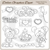 Valentine Mice 2 - Digital Stamps