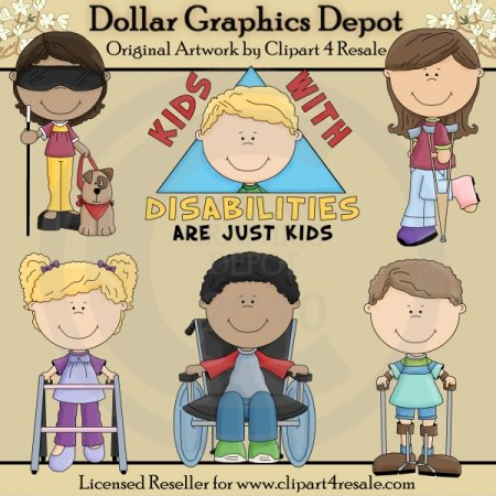 Kids with Disabilities - Clip Art