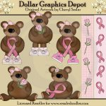 Breast Cancer Awareness Bears - Clip Art