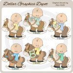 Rocking Horse Baby Boys - Clip Art - *DGD Exclusive*