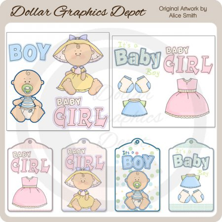 Baby Elements and Tags - Scrap Elements