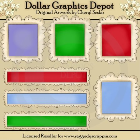 Bright Doodle Frames and Titles - Scrap Elements