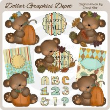 Cutie Bears - Happy Fall - Clip Art