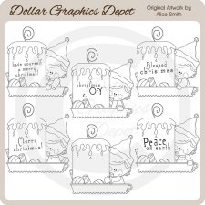 Christmas Candles 1 - Digital Stamps - *DCS Exclusive*
