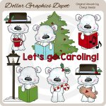 Scruffy Polar Bear - Christmas Caroling - Clip Art