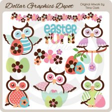 Colorful Easter Owls - Clip Art
