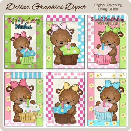 Bailey Bear Cupcake Cards - Printables