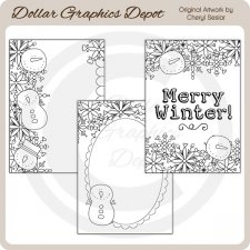 Merry Winter - Coloring Cards