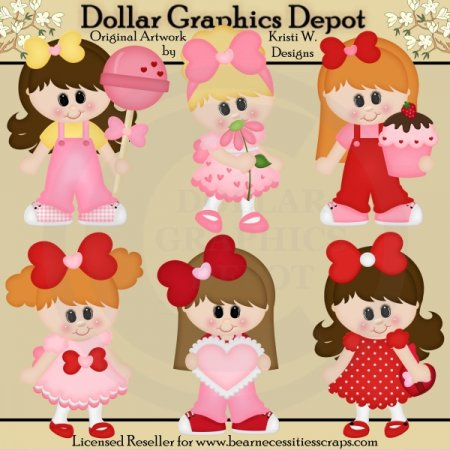 Sweet Valentine Girls - Clip Art - *DGD Exclusive*