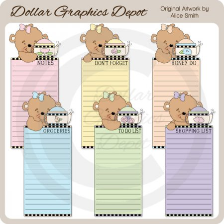 Tea Time Bear Lists 1 - Printables - *DGD Exclusive*