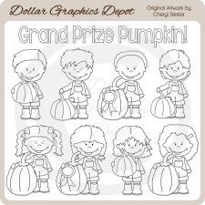 Grand Prize Pumpkin Kids - Digital Stamps
