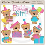 Birthday Bears - Girls - Clip Art
